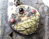 Imperial Jasper Bouquet Pendant with Rhodolite Garnet and Pink Opal Flowers in Sterling Silver Necklace Jewelry