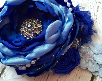 MIDNIGHT MOON headband, blue flower headband, baby headband, girls headband, flower girl headband, pageant headband, birthday headband