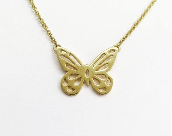 Butterfly Pendant Necklace - 14k Solid Gold  - Butterfly Jewelry - Animal Jewelry