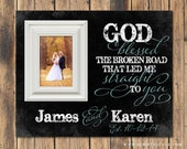 Personalized Picture Frame With Quote, God Blessed The Broken Road, Custom Picture Frame, Wedding or Anniverary Gift
