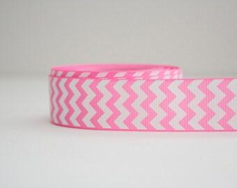 Bubble Gum Pink Chevron Print 7/8in Grosgrain Ribbon - 1yd