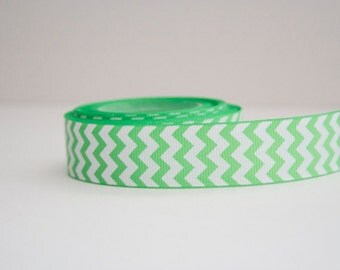 Grass Green Chevron Print 7/8in Grosgrain Ribbon - 1yd