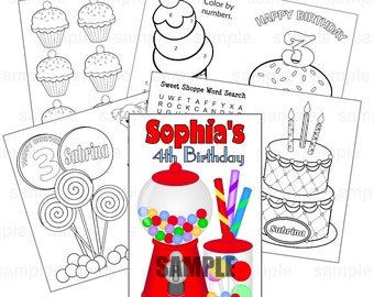 Printable Personalized Custom Sweet Shoppe Candy Favor Kids coloring activity goody bags PDF or JPEG TEMPLATE