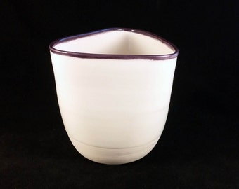 Triangle porcelain vase with purple rim