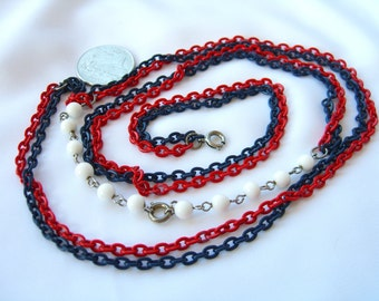 Vintage Patriotic Necklace - Red White and Blue - Independence Day 4th of July
