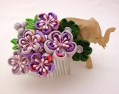 Reserved for SugarRaine Tsumami Kanzashi Hair Comb, Pine Bamboo PURPLE and LAVENDER Plum Blossom, Bridal Hair Comb, Flower Headpiece, OOAK