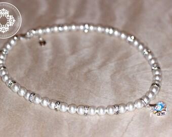 Flower Girl  SET  Necklace and Bracelet in Swarovski Pearls Crystals, flower girl gift, flower girl Jewellery, flower girl necklace