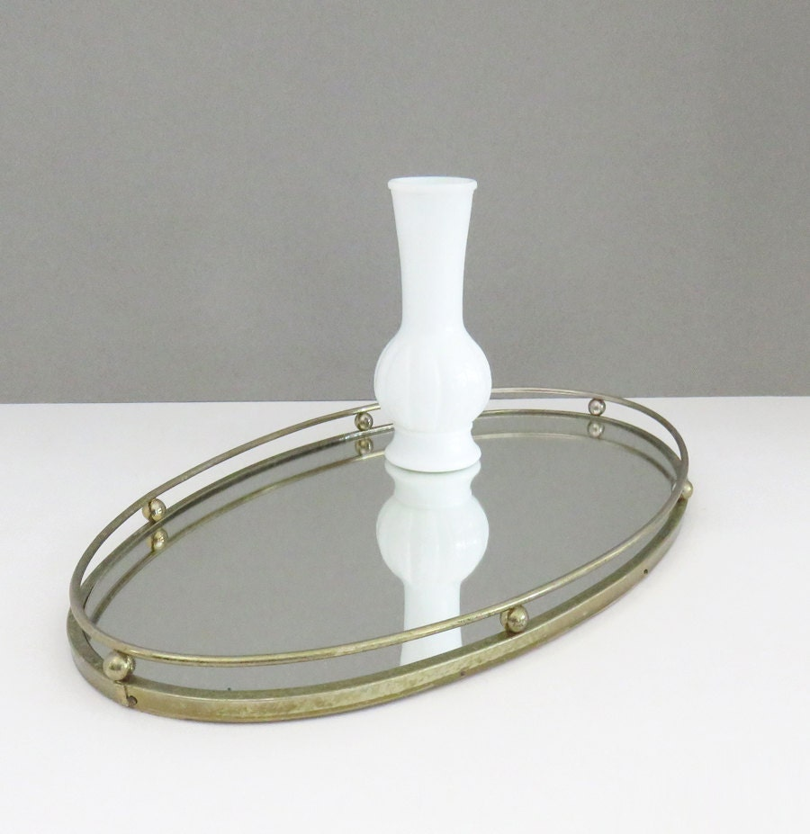 Vintage mirrored vanity tray with antique brass by for Mirrored bathroom tray