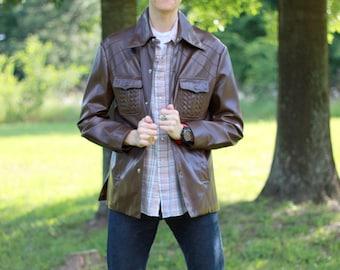 SALE 70s 1970s mens retro hipster brown vinyl jacket or coat. Streets of Laredo. Men's size large Lrg