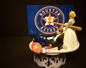 HOUSTON ASTROS Baseball (or your team) Bride and Groom Funny Wedding Cake Topper