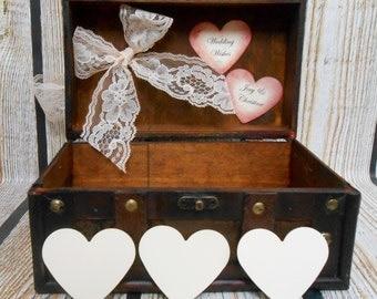Personalized Wedding Wishes Box / Wedding Wishing Well / Guest Book Alternative / Vintage Inspired Wedding Decor