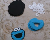 Cookie Monster Face Shapes Blue Black Die Cut pieces for DIY Tags crafts Cupcake Picks DIY Happy Birthday Decorations Party Bags etc.