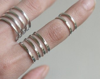 White Gold Stacked Rings Set of 3