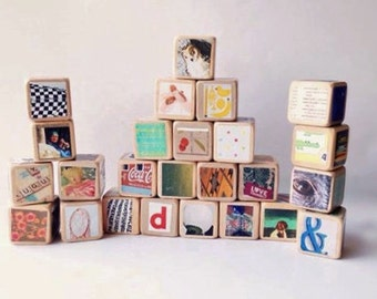 COOL Kids gift. Custom Wooden Blocks / Large Set / Hipster. Unique baby Shower Gift. eco-friendly. Upcycled Toy. Children. Nursery
