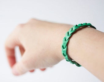 Braided Leather Bracelet / Kelly Green