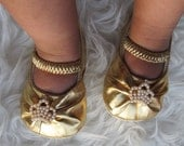 Baby Girl Gold  Crib Shoes  Crown Rhinestones ,Baby Shoes,Christening, Baptism, Wedding, Ready to ship