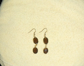 Amber Disk Dangle Earrings