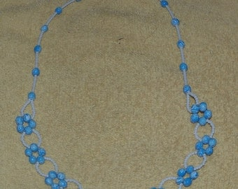 Light Blue Speckled Flower Necklace