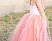 Flower Girl Tulle Tutu Gown Peach Pink Raspberry Coral