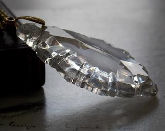 Pendalogue Vintage Chandelier Crystal Necklace, Vintage Brass Chain and Leaf Bail, Romantic, Layering Necklace, Art Deco, Bridal Necklace