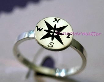 Compass ring, Compass jewelry, personalized compass, silver compass, bridesmaid ring, grad ring, ring for her, birthday gift, best friends