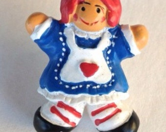 1- Raggedy Ann Studio Button Handmade Supplies Embelishment Doll Buttons