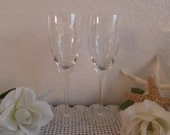 Vintage Wedding Champagne Glass Flute Set Daisy Sunflower Pair Toasting Gift Romantic Birthday Anniversary Party Entertaining Spring Summer