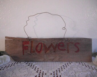 Vintage Wood Flowers Sign Rustic Country Wedding Decoration Farmhouse Retro English Red Kitchen Garden Cottage Home Decor Wall