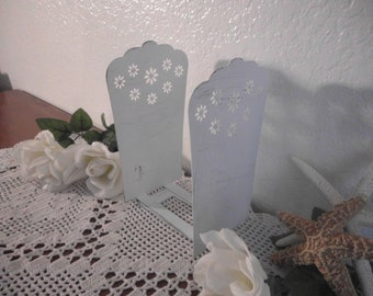 Bookend Set White Shabby Chic Floral Ornate Beach Cottage French Country Farmhouse Romantic Southern Home Decor Gift Her