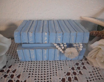 Blue Jewelry Box Shabby Chic Beach Cottage Coastal Seaside Tropical Island Home Decor Birthday Gift Her Storage Organizer Rustic Distressed