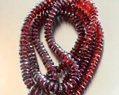 Burgundy red 6 mm faceted rondelle garnets