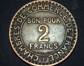 1921 French 2 Francs coin very fine condition