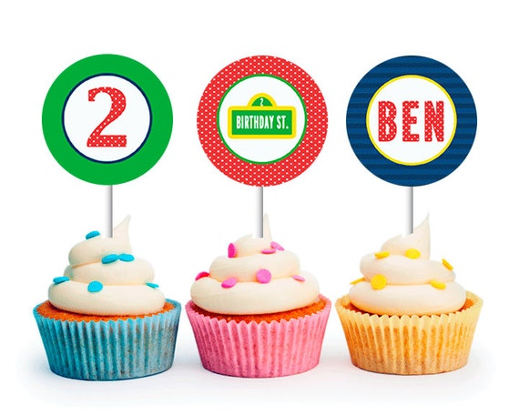 SESAME STREET Inspired Birthday - Printable Party Circles, Sesame Street Cupcake Toppers