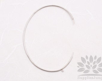 A332-02-S// Rhodium Plated 1.2mm Thick Simple Bangle with Loop Bracelet, 2pcs