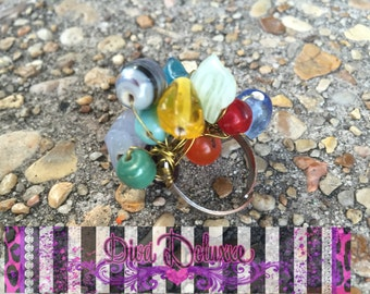 Jewelia Beaded Wire Wrapped Adjustable Ring