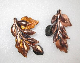 Vintage Copper Matisee Pin Set Leaves With Enamel Cluster