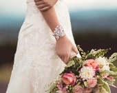 Light ivory lace, pearl and crystal bridal cuff bracelet