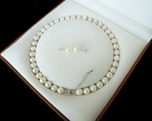 free shipping-  8mm white shell pearl necklace & earring set