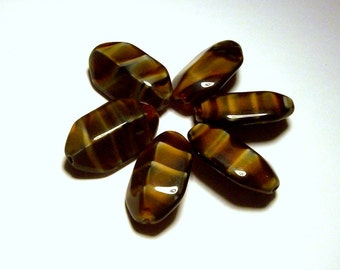 Vintage Turtle Shell Glass Oval Beads - 13mm x 22mm - (6)