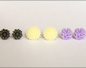 Flower Earring Studs Trio: Grey Daisy, Buttercream Mum, Lavender Ruffle Flower