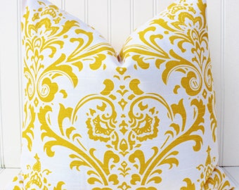 Yellow Pillow Cover, Decorative Throw Pillow Covers, Yellow Damask Pillows, Sofa Pillow, Yellow Cushions, Cushion Covers, Bedroom Pillows