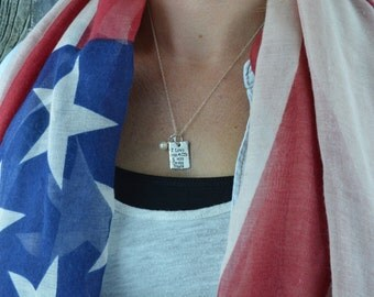 Sterling Silver I Love His ACUs And His Dress Blues Hand Stamped Rectangle Dog Tag Necklace, Army Wife, Deployment Jewelry by Miss Ashley