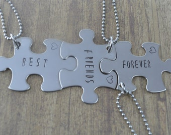 Best Friends Forever Puzzle Piece Necklace Set in Stainless Steel, Set of 3 Three Necklaces, Best Friend Gifts by Miss Ashley Jewelry