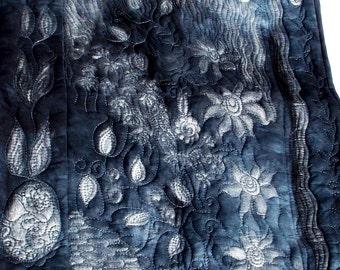 Modern art quilt, contemporary art in silver and grey  grey monochrome  wall art quilt, mixed media art quilt, textile art, nature art