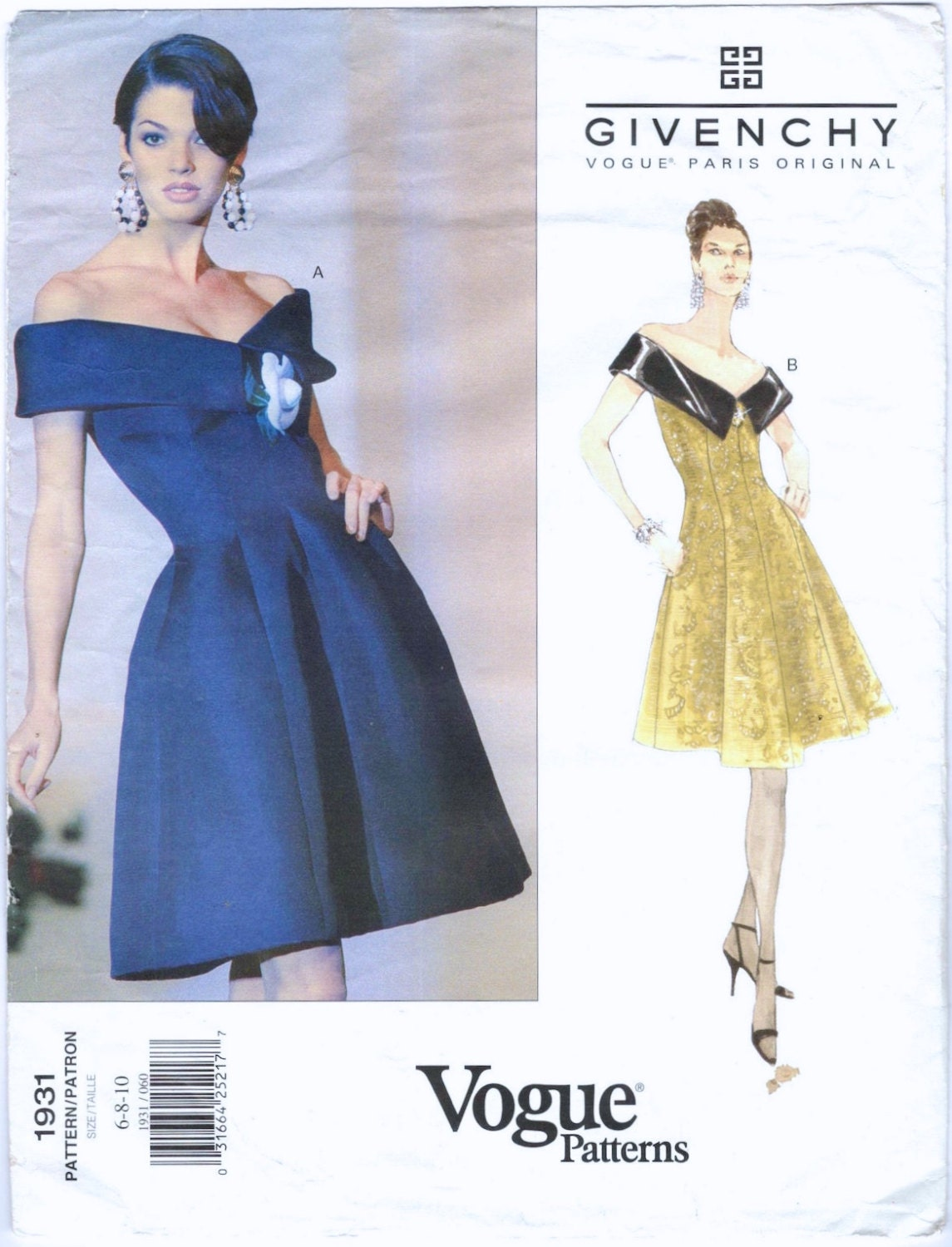 1990s Hubert de Givenchy cocktail dress pattern - Vogue 1931