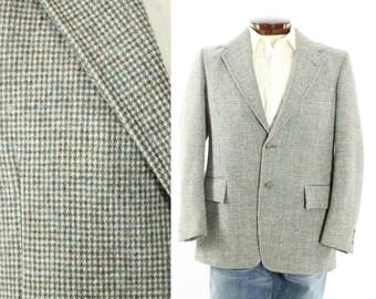 Vintage 80s Harris Tweed Blazer Sport Coat Jacket Scottish Wool Blue Brown White Checked Mens Work Business Fashion 44