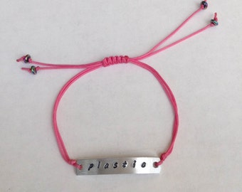 "Mean Girls Inspired Pink ""Plastic"" Slipknot Bracelet, Shamballa Cord, Adjustable Fit, Nerd Gift, Arrived Gift Wrapped FREE SHIPPING"