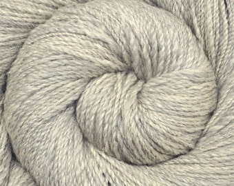 Handspun yarn - Silk / Merino wool, fingering weight - LIGHT GRAY 1 - 335 yards