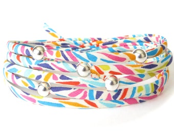 Super colourful wrap bracelet, beach holiday accessories, Liberty fabric wrap in bright summer colours, fun gift for sister, cord bracelet