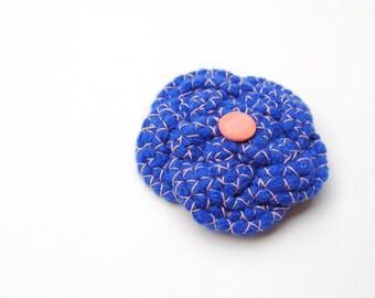 Blue flower brooch, statement brooch, oversized brooch, blue and pink brooch, flower pin, knotted brooch, blue pin, blue brooch, gift idea
